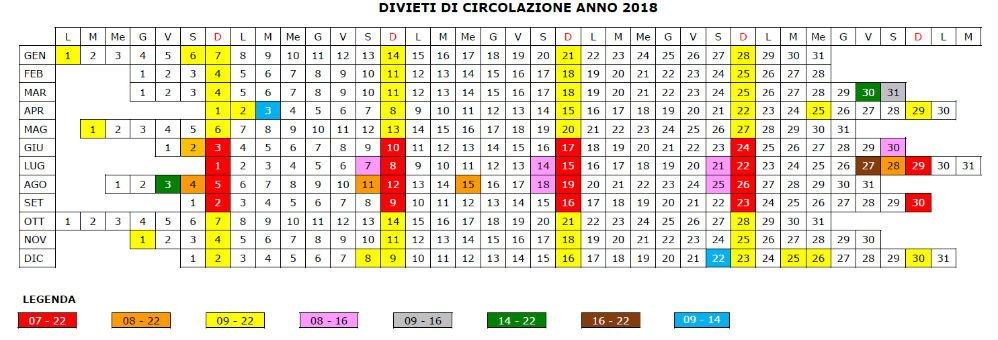 Divieti di circolazione 2018 calendario_2018_135_1.jpg (Art. corrente, Pag. 1, Foto evidenza)
